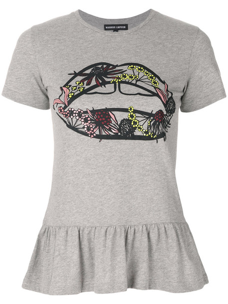 Markus Lupfer - Artic Flower Lip peplum T-shirt - women - Cotton - XS, Grey, Cotton