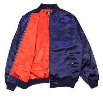 coat orange blue jacket bomber jacket