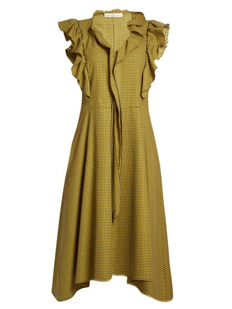 dress midi dress ruffle midi gingham yellow