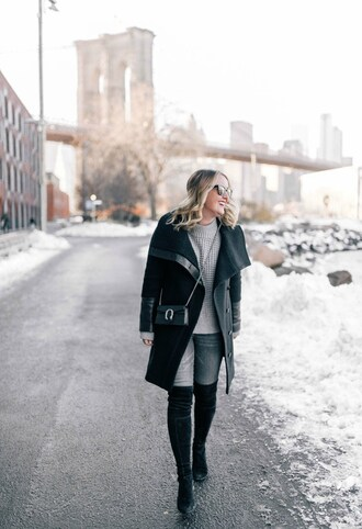 wit&whimsy blogger sweater coat jeans bag sunglasses shoes crossbody bag gucci bag black coat winter outfits boots over the knee boots