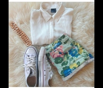 shorts floral denim white blouse sneakers cute style back lace gold