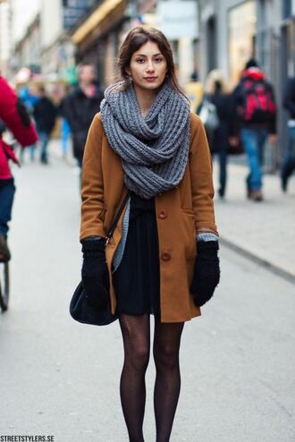 scarf grey infinity scarf brown coat black skirt black tights blogger