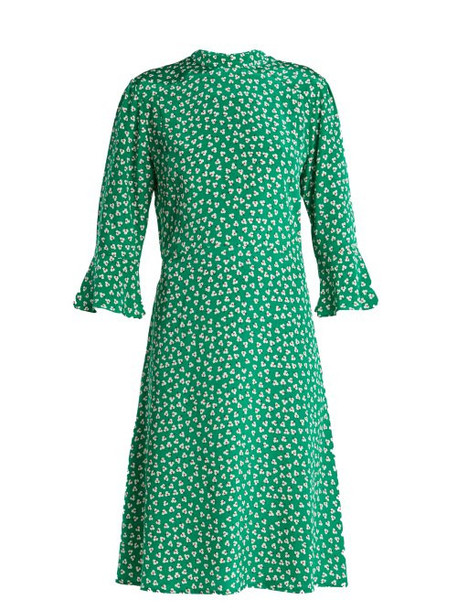 Hvn - Ashley Floral Print Silk Dress - Womens - Green Print