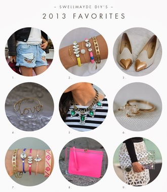 swellmayde shorts jewels bag jewelry bracelets stacked bracelets