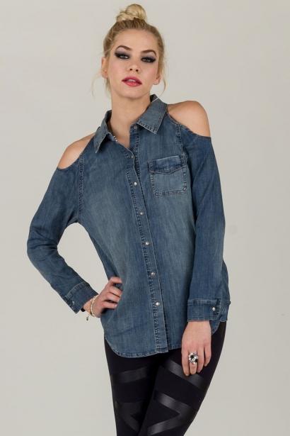 Cutout Shoulder Denim Shirt Cut out Shoulder Denim Shirt [WT3463-UQ] - $21.99 : OMGbebe.com, Trend and New Vintage Clothing