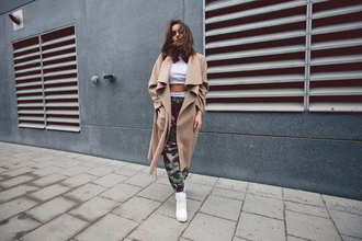 fanny lyckman blogger camel coat camo pants winter swag dope white crop tops camouflage
