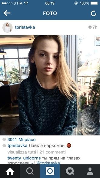 sweater blue vintage love blonde hair grunge green tumblr girl winter pretty