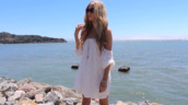 dress,lace,shift,smock,white lace,short sleeve,clothes,beach,off the shoulder