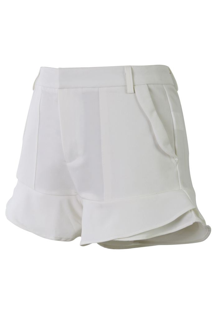 White Petite Flaring Tiered Shorts - Retro, Indie and Unique Fashion