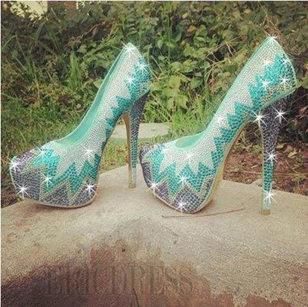 $ 86.19 gorgeous green contrast colour rhinestone platform high heel prom shoes
