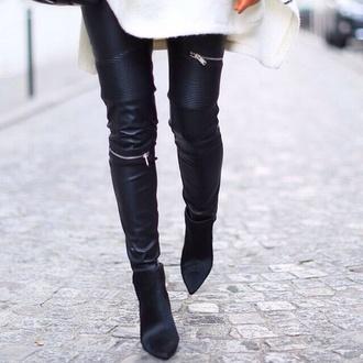 pants leather pants black leggings black pants zipper zip
