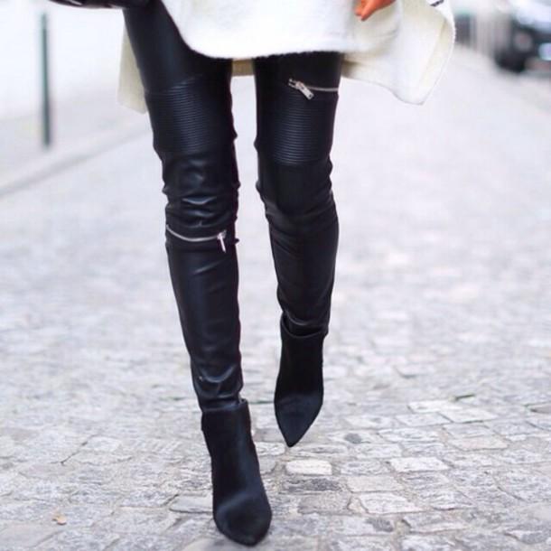 pants leather pants black leggings black pants zip zip hot