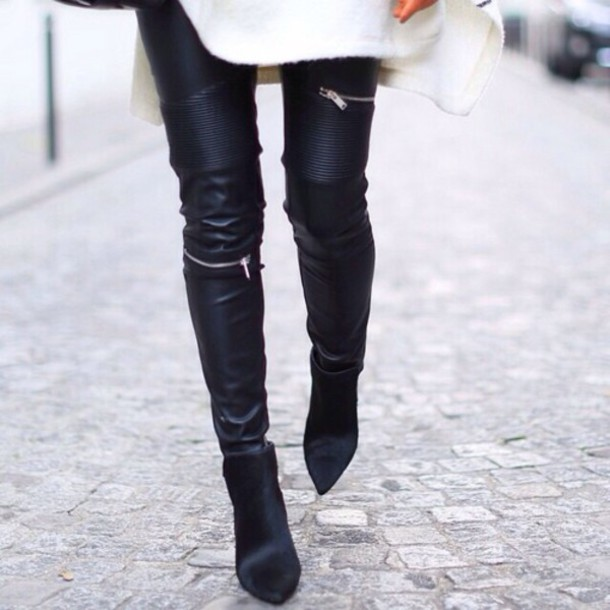 pants leather pants black leggings black pants zip zip
