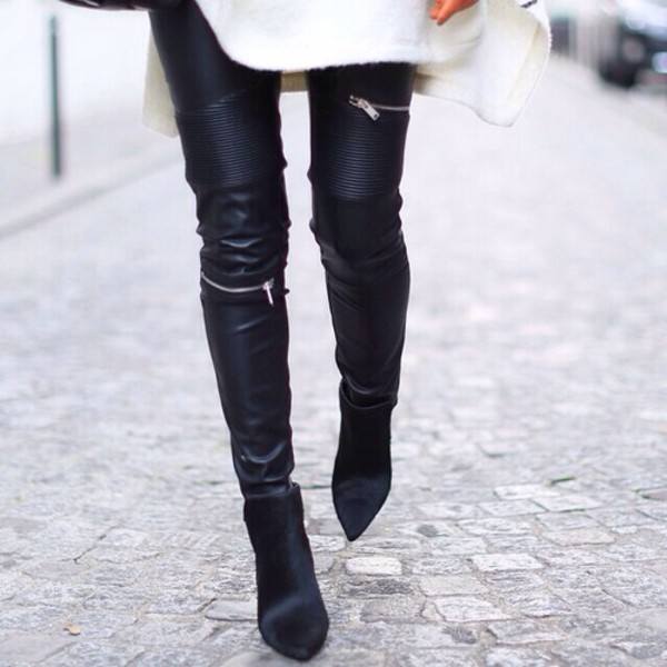 723519d072127 ZARA NEW 2015 FAUX LEATHER BIKER TROUSERS WITH ZIPS SIZES XS S M L ...