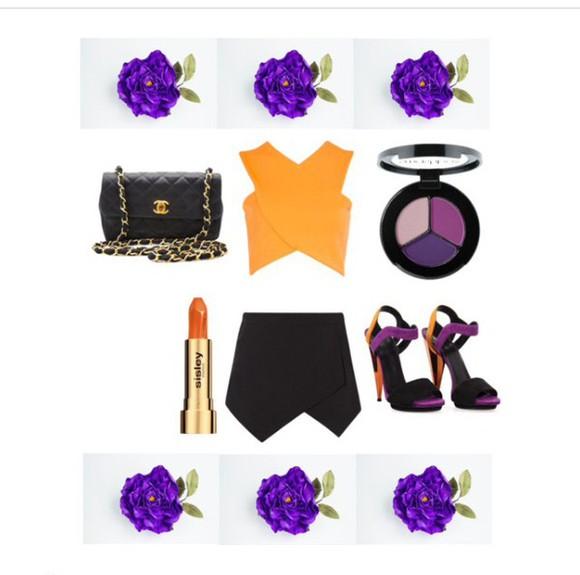 black chic fashion purple shoes orange top make-up multicolored heels datenight