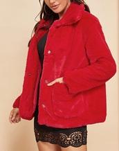 coat,girly,girl,girly wishlist,red,fur,fur coat