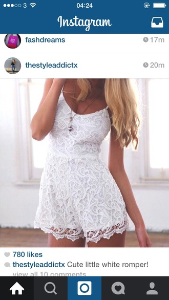 jumpsuit white lace romper romper playsuit summer girly