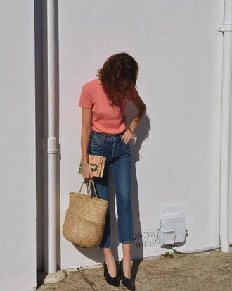 jeans tumblr denim blue jeans cropped jeans t-shirt pink peach bag woven bag high heels heels black heels