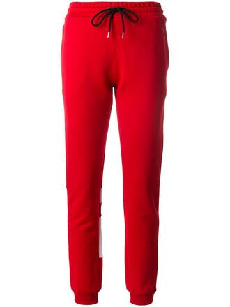 pants track pants women cotton red