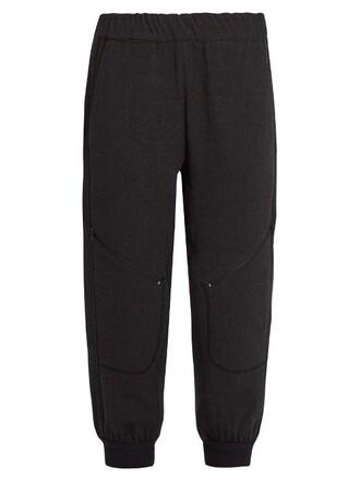 pants track pants cropped wool dark grey