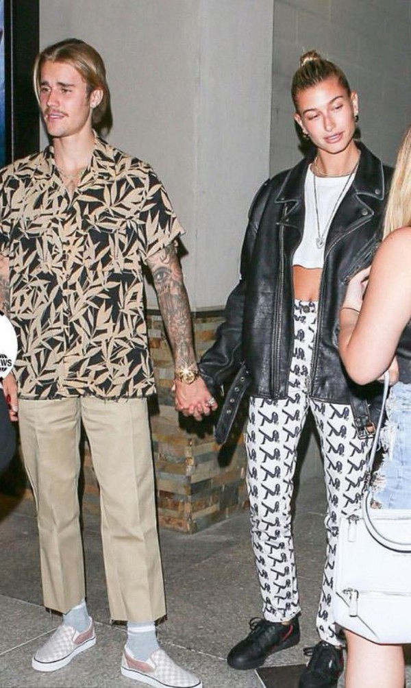 pants justin bieber hailey baldwin model off-duty streetstyle jacket crop tops black and white celebrity