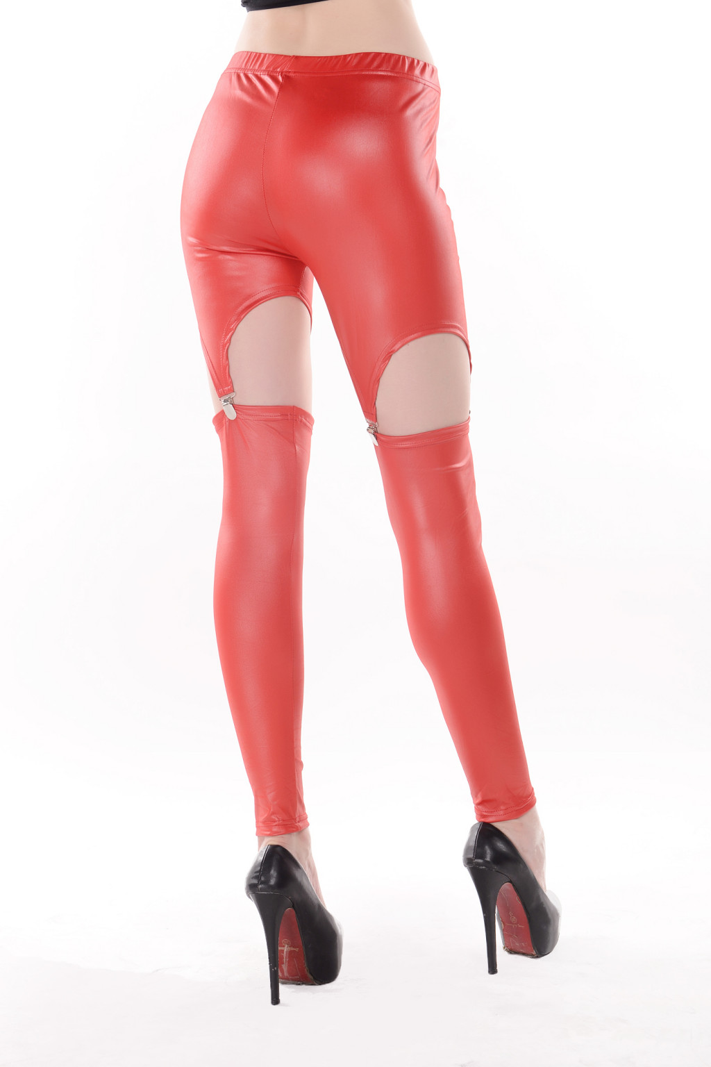 Rock punk garter buckle red/white/black faux leather leggings tights o/s @y178