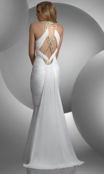 dress white dress ivory dress prom dress 2014 prom dresses