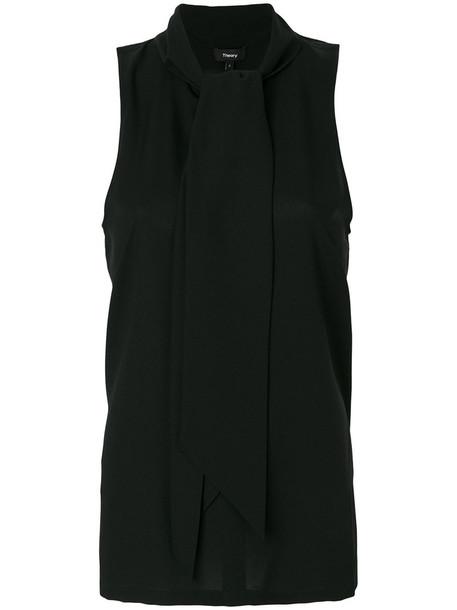theory blouse women spandex black silk top