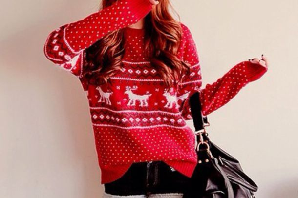 sweater christmas christmas sweater red bright red deer white pattern cute pretty winter outfits nice deer holiday season