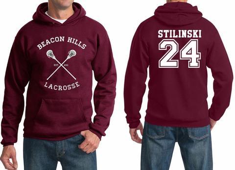 beacon hills lacrosse stilinski 24 maroon hoodie