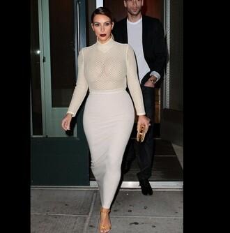 top kim kardashian bodycon dress nude mesh see through kim kardashian skirt pencil skirt