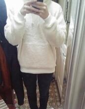 sweater,sherpa,sherpa hoodie,streetwear,white,fleece,sherpa fleece,hoodie