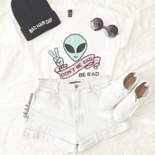 t-shirt,colorful,alien,grunge,rad,material,pattern,funny,quote on it,white,top,denim,high waisted,sunglasses,indie,clothes,outfit,shoes,trainers,sneakers,sad,shirt,alternative,shorts,tshirt.,tumblr,skirt,black and white,summer,bad hair day hat,teenagers