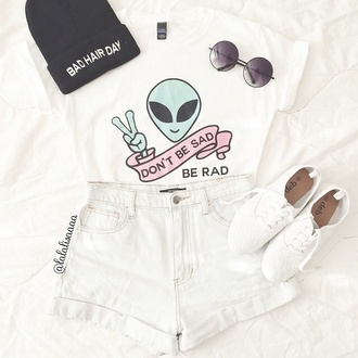 t-shirt colorful alien grunge rad material pattern funny quote on it white top denim high waisted sunglasses indie clothes outfit shoes trainers sneakers sad shirt alternative shorts tshirt. tumblr skirt black and white summer bad hair day hat teenagers