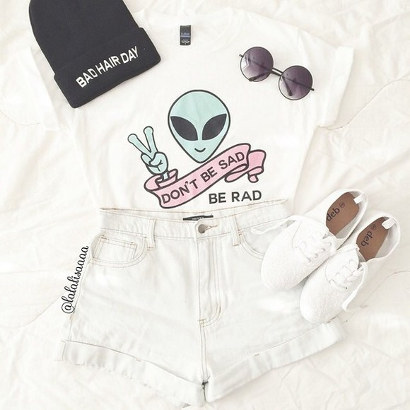 shoes t-shirt clothes outfit denim top slogan high waist high waisted sunglasses indie aliens trainers sneakers help me to find colour alien grunge rad material pattern funky quote on it white