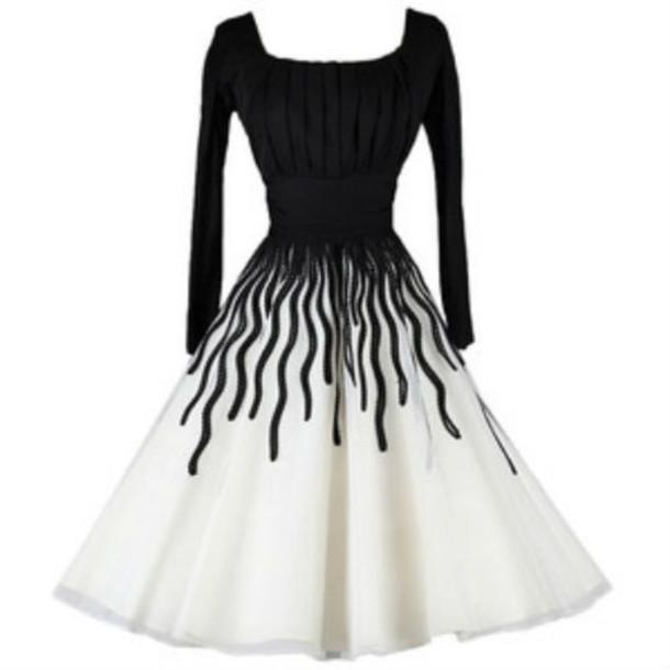 Dress: black and white dress, cocktail dress, prom dress, long ...