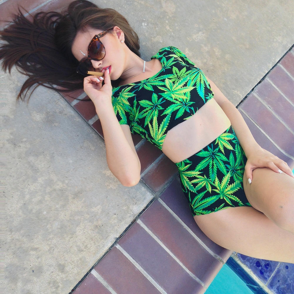 New women's sexy 2 piece sets swimsuit novelty print cartoon adventure time/weed/flower floral swimming suits bathing wear