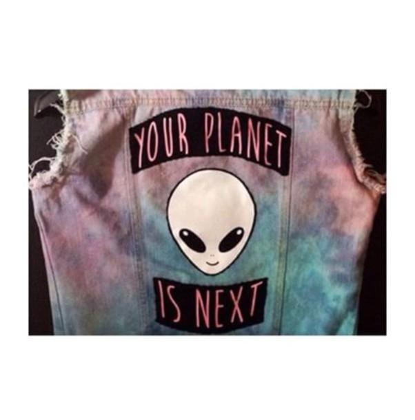 jacket colorful alien vest denim