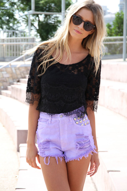 shorts High waisted shorts purple shorts purple studs summer