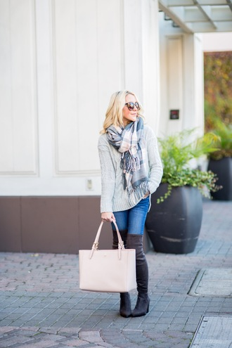 gbo fashion blogger sweater jeans shoes bag scarf nude bag grey sweater winter outfits boots thigh high boots tartan scarf