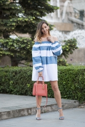 let's talk about fashion !,blogger,jewels,off the shoulder,stripes,t-shirt dress,pink bag,blue heels