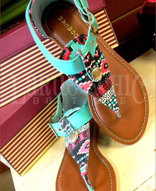 shoes teal turquoise style sandals embellished fashion multicolor