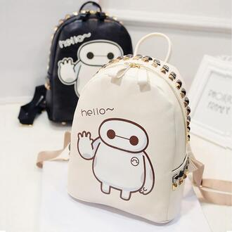 bag tadashi kawaii fashion studs white black backpack back to school anime cute style baymax