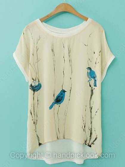 Beige Short Sleeve Birds Print Chiffon Asymmetrical T-Shirt - HandpickLook.com