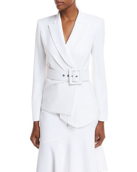 Michael Kors Collection Draped Crepe Blazer w/ Belt | Neiman Marcus