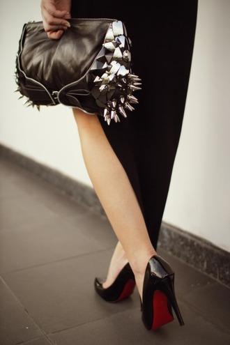 black bag silver spikes leather bag zips bag