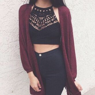 top lace blouse shirt black top lace crop top black crop top halter top brandy melville crop tops lace top lace cami cardigan black crotchet halter neck crop top halter crop top tank top hat black cut-out cute outfit for teens jeans burgundy black shirt cute outfit outfit idea tumblr outfit