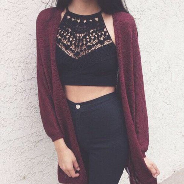 top lace blouse shirt black top lace crop top black crop top halter top brandy melville crop tops lace top lace cami cardigan black crotchet halter neck crop top halter crop top tank top hat crop tops black cut-out cute outfit for teens jeans burgundy black shirt cute outfit outfit idea tumblr outfit