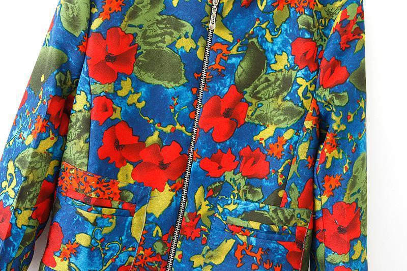 Blue Long Sleeve Zipper Graffiti Print Jacket - Sheinside.com