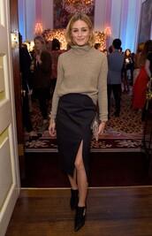 sweater,turtleneck,turtleneck sweater,olivia palermo,london fashion week 2016,slit skirt,fall outfits,fall sweater,midi skirt,blogger